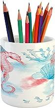 Lunarable Nautical Pencil Pen Holder, Shells Sea Horse Corals Fish Sandy Beach Exotic Watercolor Effect, Ceramic Pencil Pen Holder for Desk Office Accessory, 3.6