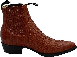 Men Genuine Cow Leather Crocodile Print Short Ankle Western j Toe Boots