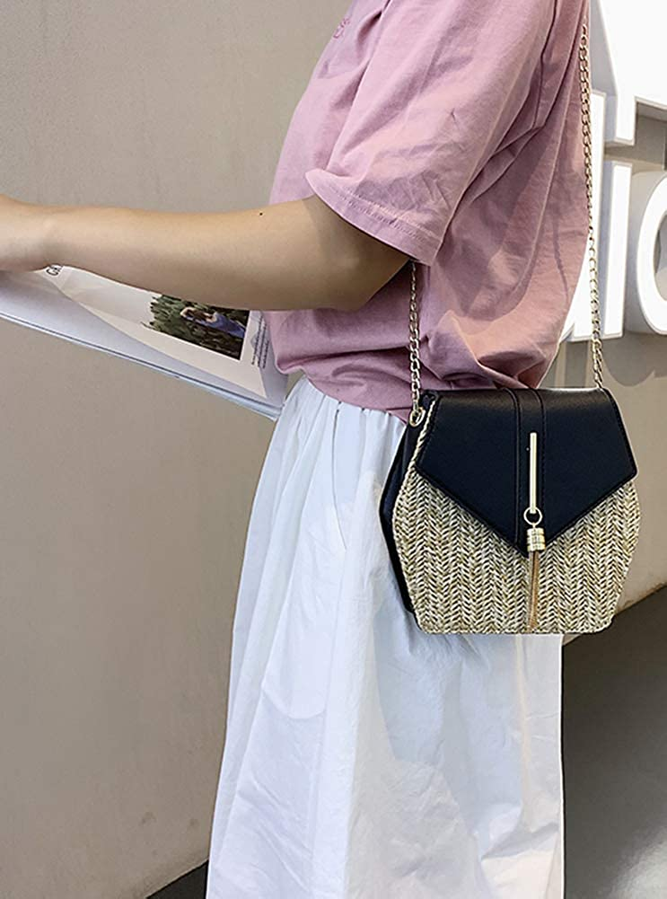 Hycurey Straw Crossbody Bag Women Weave Shoulder Bag Round Summer Beach Tote Purse and Handbags for Beach Travel