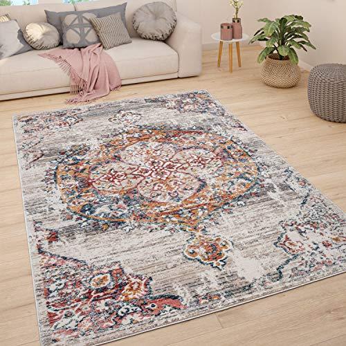 Tappeto Soggiorno Tappeto Salotto Pelo Corto Vintage Pastello Moderno Orientale, Dimensione:60x100 cm, Colore:Beige