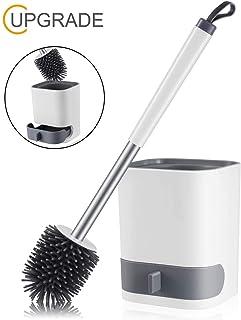 MEKEET Escobilla y soporte para inodoro de silicona, juego de soporte para cepillo de dientes para inodoro, kit de cepillos para limpieza de inodoro de silicona con cepillo de cerdas suaves