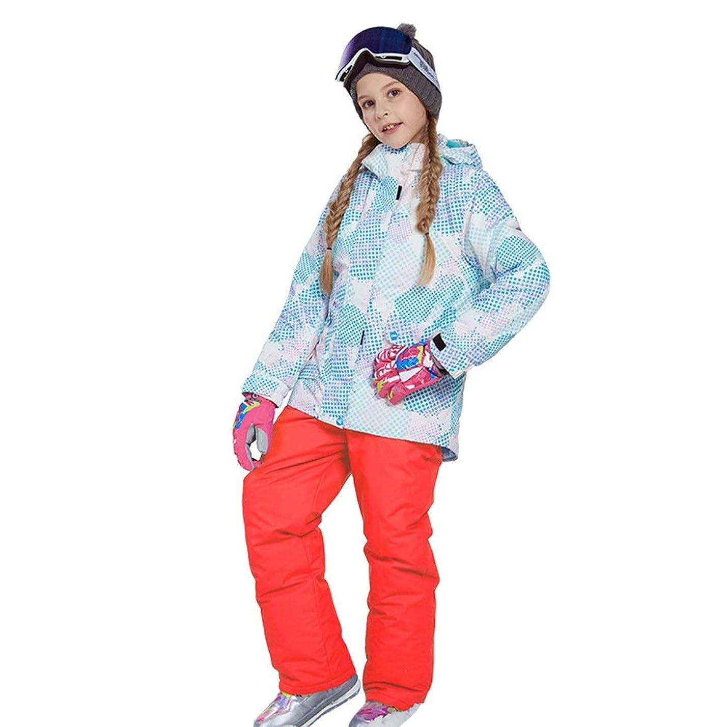 スワップステンレスバスルームラブリーボーイズガールズウィンタースノーボードパーカージャケットスノービブスノースーツセット暖かいスノースーツフード付きスキージャケット+パンツ2個セット-オレンジ110