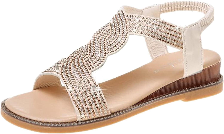 Gyouanime Sandals Max 80% OFF Flat Women Boho Ankle Toe Stra Open Rhinestone trend rank