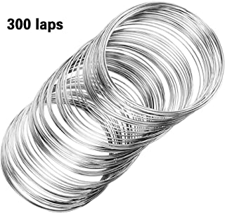 300Pcs Jewelry Beading Wire for Bracelet DIY Jewelry Making,K White Jewelry Craft Wire Memory Wire Cuff for Jewelry DIY(0.6 mm Thickness,6 cm in Diameter)