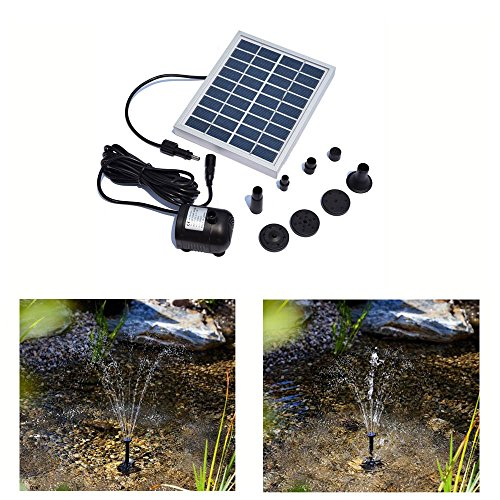 Solar Teichpumpe 2 Watt Solarmodul 200L/H 9V Kleiner Typ Solar Teichpumpe Springbrunnen für Garten, Vorgarten, Vogel Bad, Teich, Wasser
