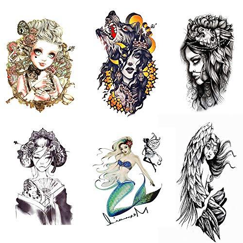 Pinkiou Mujeres Etiqueta engomada del tatuaje temporal Impermeable Sexy Chica Cuerpo Tatuajes falsos (6 hojas)