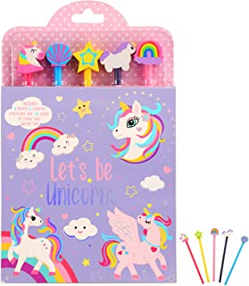 SuperStyle Cute Animal Coloring Book for Kids Age 3-8, 5 Pencil and Eraser Set, A Beautiful Collection of 32 Unique Cute A...