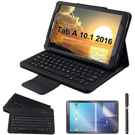 REAL-EAGLE Galaxy Tab A 10.1 Teclado Funda(QWERTY), Funda de Cuero con Desmontable Inalámbrico Bluetooth Teclado para Samsung Galaxy Tab A6 10.1 2016 ...
