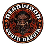 PatchStop Deadwood Buffalo Head Orange Iron On Patches for Clothing Jeans - 3in Round Small DIY Sew On Patch for Jackets Bags - Embroidered South Dakota Patch