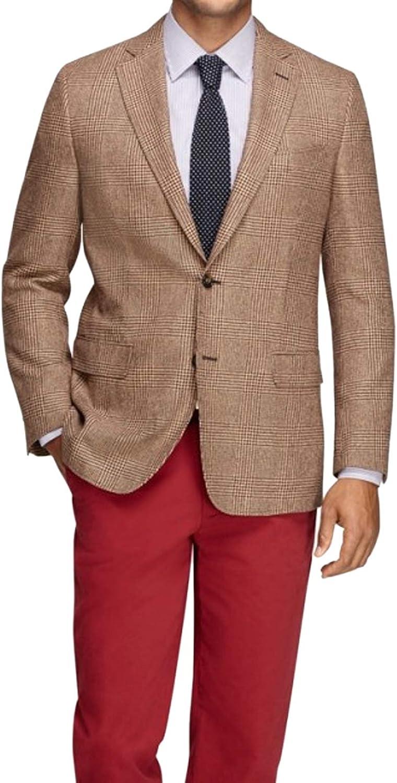 Brooks Brothers Mens 1007 Fitzgerald Fit Wool Silk Blend The Super Soft Jacket Blazer Brown Houndstooth