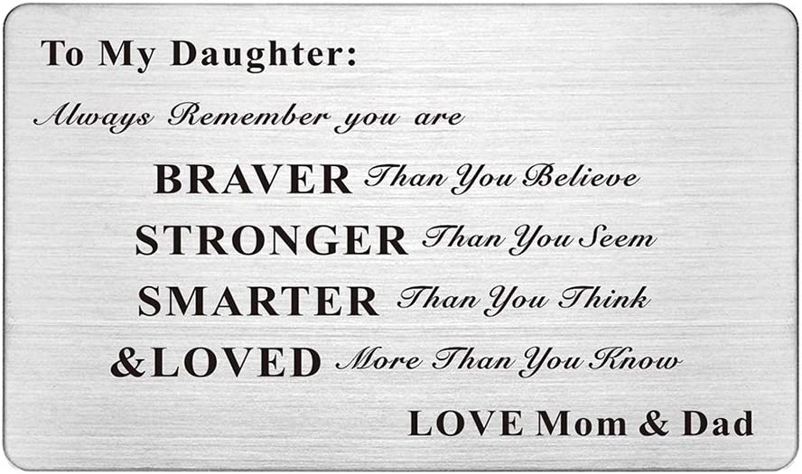 Laser Engraved Stainless Steel Wallet Card Love Note Insert Card Gift for Daughter from Mom and Dad