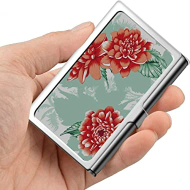 Beautiful Spring Retro Red Peony Case for Business Cards Art Business Card Holder Professional Metal 3.81x 2.7 X 0.29 Inches