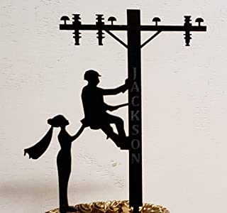 Lineman wedding Cake Topper- Personalized funny Lineman bride cake topper, Wedding cake topper themed, Journeymen Nurse Cake topper