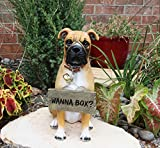 """Ebros Large Adorable Fawn Boxer Dog Guest Greeter Statue with Jingle Collar 13.25"""" Tall Canine Home and Garden Decor Realistic Design for Pedigree Boxers Fans Housewarming Gifts"""