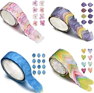 TXIN 4 Rolls Flower Petal Washi Tape, Masking Stickers for Scrapbook, Journal, Planner, Arts and Crafts DIY, 200 Petals/Roll