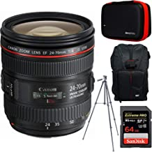 Canon EF 24-70mm F/4L is USM Standard Zoom Lens + 64GB Accessories Bundle Includes Backpack for Cameras + All-in-One Cleaning Kit for DSLR Cameras + 60-Inch Video & Photography Tripod