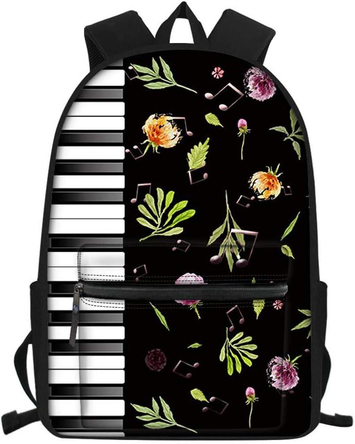 Nopersonality School Bags for Girls Boys Teen Backpack Rucksack Bagpacks Funny Piano Keys Music Waterproof Lightweight Rucksack Black