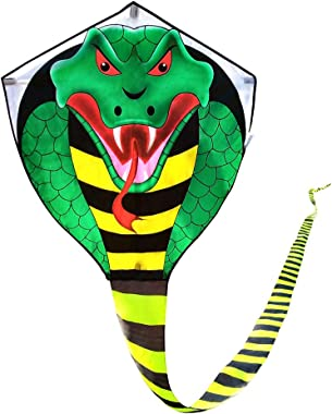 Large Cobra Kite for Adults Kids Boys with Super Long Tail (49 ft), Extra Easy to fly, Best Huge Kites for the Beach/Kite Par