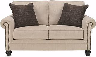 Signature Design by Ashley - Milari Contemporary Loveseat w/ 2 Pillows, Linen White