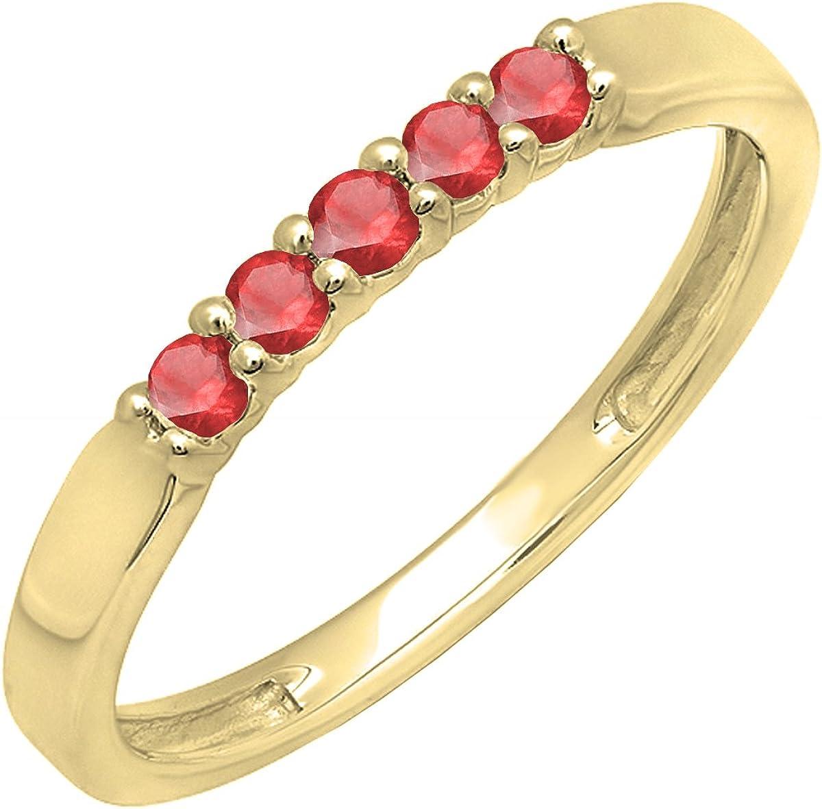 Dazzlingrock Collection 14K Round Lab Created Gemstone Ladies Anniversary Wedding Band Ring, Yellow Gold