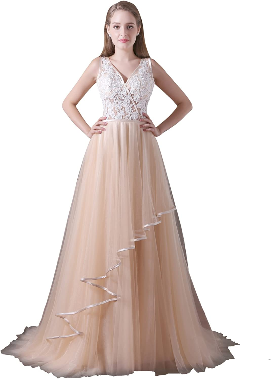 Ikerenwedding Women's VNeck Pearls Lace Applique Backless Tulle Prom Dress