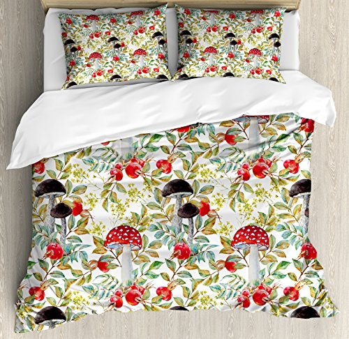 Ambesonne Watercolor Duvet Cover Set, Hand Drawn Dogrose and Mushrooms Autumn Leaves Berries Amantias Nature Inspired, Decorative 3 Piece Bedding Set with 2 Pillow Shams, King Size, Red Green