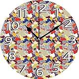 AZHOULIULIU Co.,ltd Remiendo de Formas onduladas desiguales adyacentes adornadas con Puntos, líneas, Manchas y Ramos de Flores Reloj silencioso Multicolor