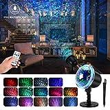 mimoday Wasserwelle Nachtlicht Projektor Lampe, LED Projektionslampe mit Fernbedienung,...