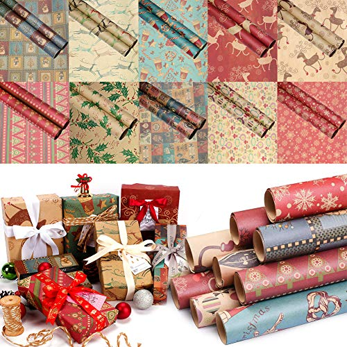 10x Wrapping Paper Roll, Christmas Vintage Kraft Paper for Xmas Presents Wrap - 10 Sheets Packed as 1 roll - 18 x 28 inches per Sheet
