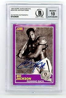 Bo Jackson 1989 Score Supplemental Autograph - BAS 10 - Beckett Authentication - Football Slabbed Autographed Cards