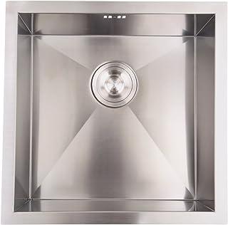 XuanYue Edelstahlspüle Küchenspüle Edelstahl 45 x 45cm Küche Spülbecken Flächenbündig Badezimmer Waschbecken Waschbecken Mit Hahnloch
