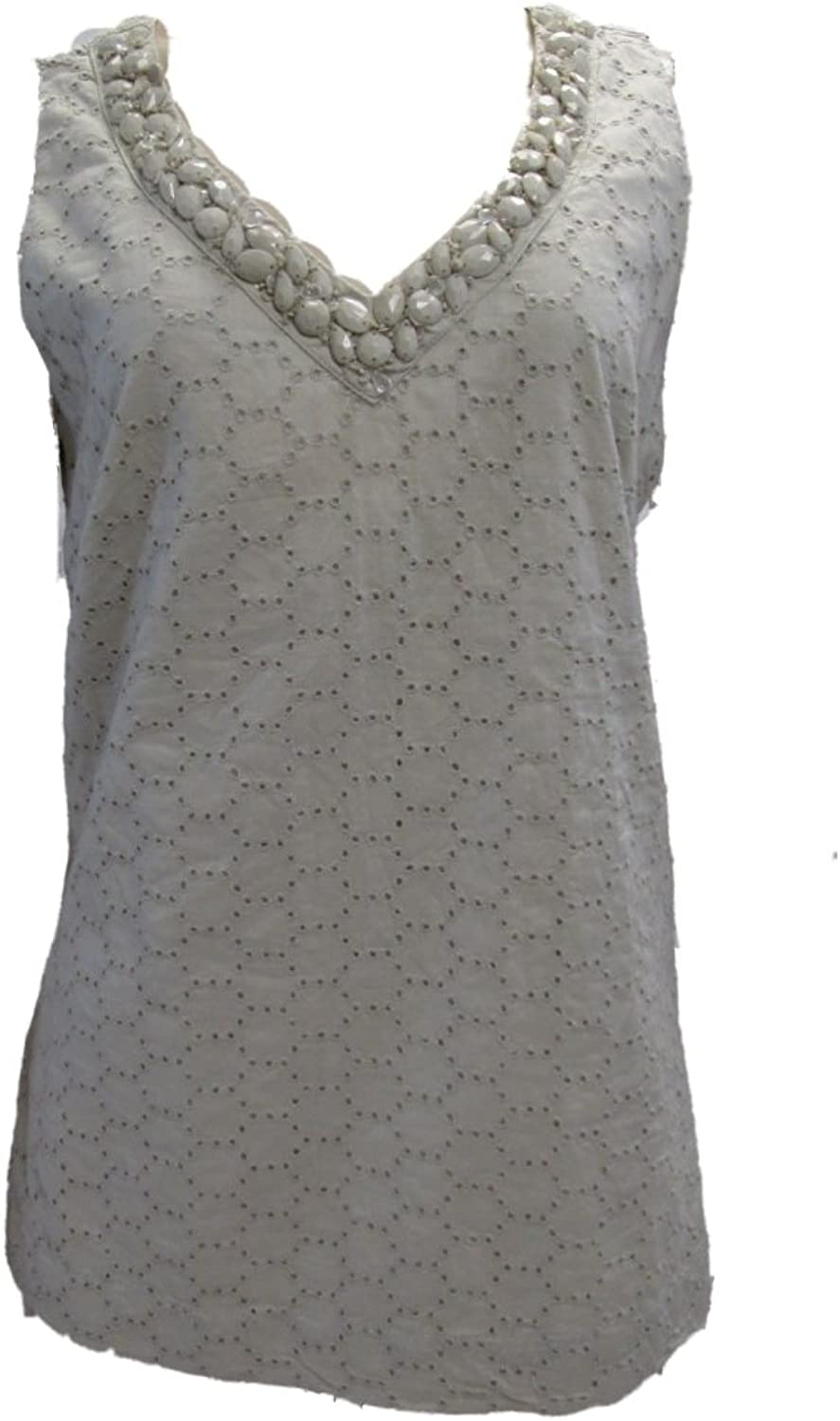 Charter Club Womens Sleeveless Blouse Tank Top 6 Sand