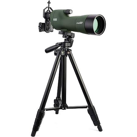 "SVBONY SV28 フィールドスコープ スポッティングスコープ 直視型 20-60x 60mm Bak4プリズム 4""解像度 FMC 防水 卓上三脚付き 4段三脚付き 天体観測 野鳥観察 アーチェリー"
