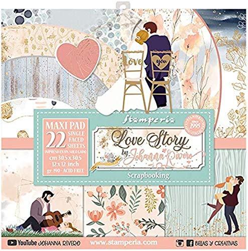 STAMPERIA Set de Scrapbooking Love Story Johanna Rivero 30x30cm, Verda, rosa, Regular