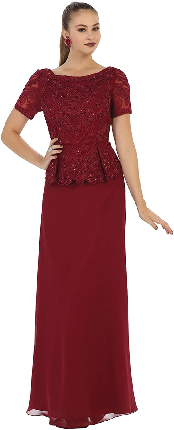 May Queen MQ1427 Classy Short Sleeve Mother of The Bride Dress