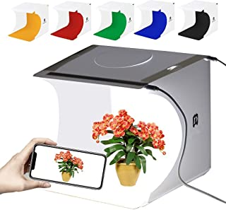 GLURIZ Estudio fotografico portatil, Caja de Luz para Estudio Fotográfico, Kit para Fotografía de Producto con 2 Tiras LED...