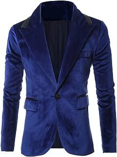 REYUY Men's Slim Fit Notched Lapel 1 Button Velvet Suit Jacket
