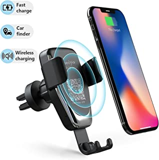 Wireless Car Charger Phone Mount, 2 in 1 Car Air Vent & Dashboard Universal Phone Holder 10W Fast Charging Compatible with iPhone 8/8 Plus/X/XS/XR/XS MAX,Samsung Galaxy and All QI-Enabled Smartphone