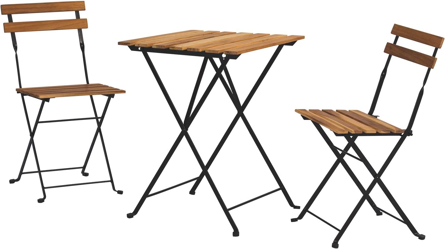 SUNBURY Outdoor 3 Piece Bistro Folding Chair and Table Set, Burlywood Patio Furniture Sitting w Wooden Top for Backyard Lawn Balcony