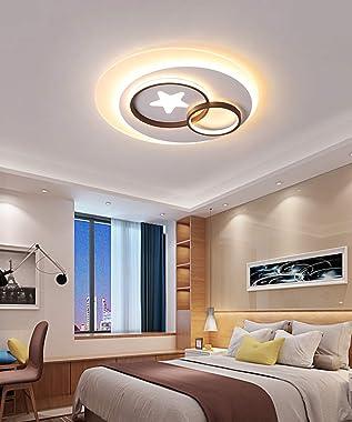 Moderne Ronde Plafonnier Luminaire LED Lampe de Plafond Blanc Éclairage Intérieur Étoile pour Salon Chambre Cusine Salle à Ma