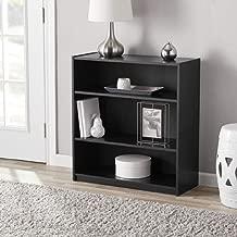 Mainstay Walnut 3-Shelf Wood Bookcase with Elegant Honeycomb Vase (Black, 3-Shelf Standard)
