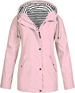 Loosebee◕‿◕ Rain Jackets for Women Plus Size Zipper Raincoats Hoodie Solid Long Sleeve Waterproof Windproof Outdoor Coats