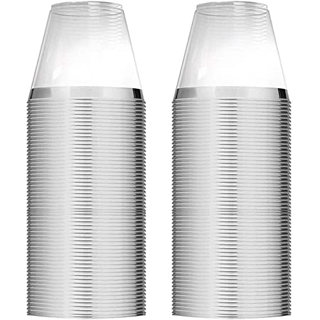 100 Silver Plastic Cups 9 Oz Clear Plastic Cups Old Fashioned Tumblers Silver Rimmed Cups Fancy Disposable Wedding Cups Elegant Party Cups with Silver Rim