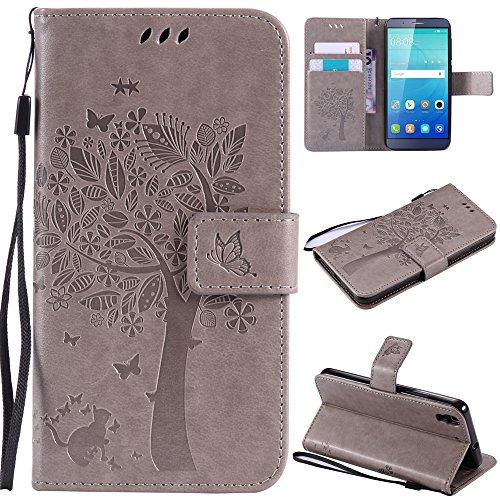 Ooboom® Huawei ShotX Hülle Katze Baum Muster Flip PU Leder Schutzhülle Handy Tasche Hülle Cover Standfunktion mit Kartenfächer für Huawei ShotX - Grau