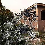 iZoeL Große Spinnennetz mit Spinne, Halloween Garten Deko inkl. 2X 75cm Spinne + 550cm Spinnennetz + 40g Spinnweben + 30x Mini Spinne, Halloween Außendekoration Riesenspinne
