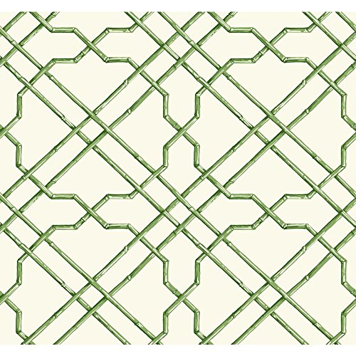 York Wallcoverings AT7075 Tropics Bamboo Trellis Wallpaper, White, Medium Green, Dark Green