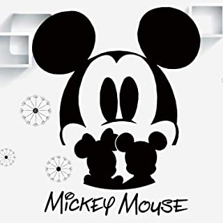 VODOE Mickey Mouse Wall Decal, Minnie Wall Decals, Disney Girl Boys Kids Baby Room Nursery Cartoon Anime Stickers Suitable for Roomates Family Living Room Vinyl Art Home Decor(Black 33.8 X 15.5inches)