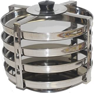 Tabakh DC-104 4-Plate Stainless Steel Dhokla Stand, Medium, Silver