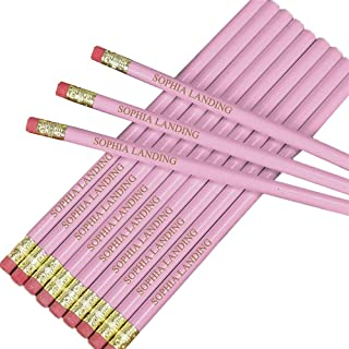 GiftsForYouNow Personalized Engraved Wooden Pink #2 School Pencils, Pack of 12, 7.5