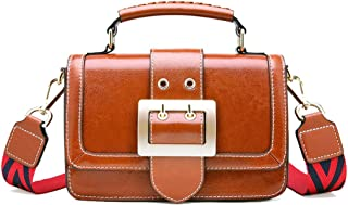 Fine Bag/Women's PU Handbag Retro Wide Shoulder Strap Shoulder Bag Casual Simple Crossbody Bag College Shopping (Color : Brown, Size : 20 * 8 * 12cm)